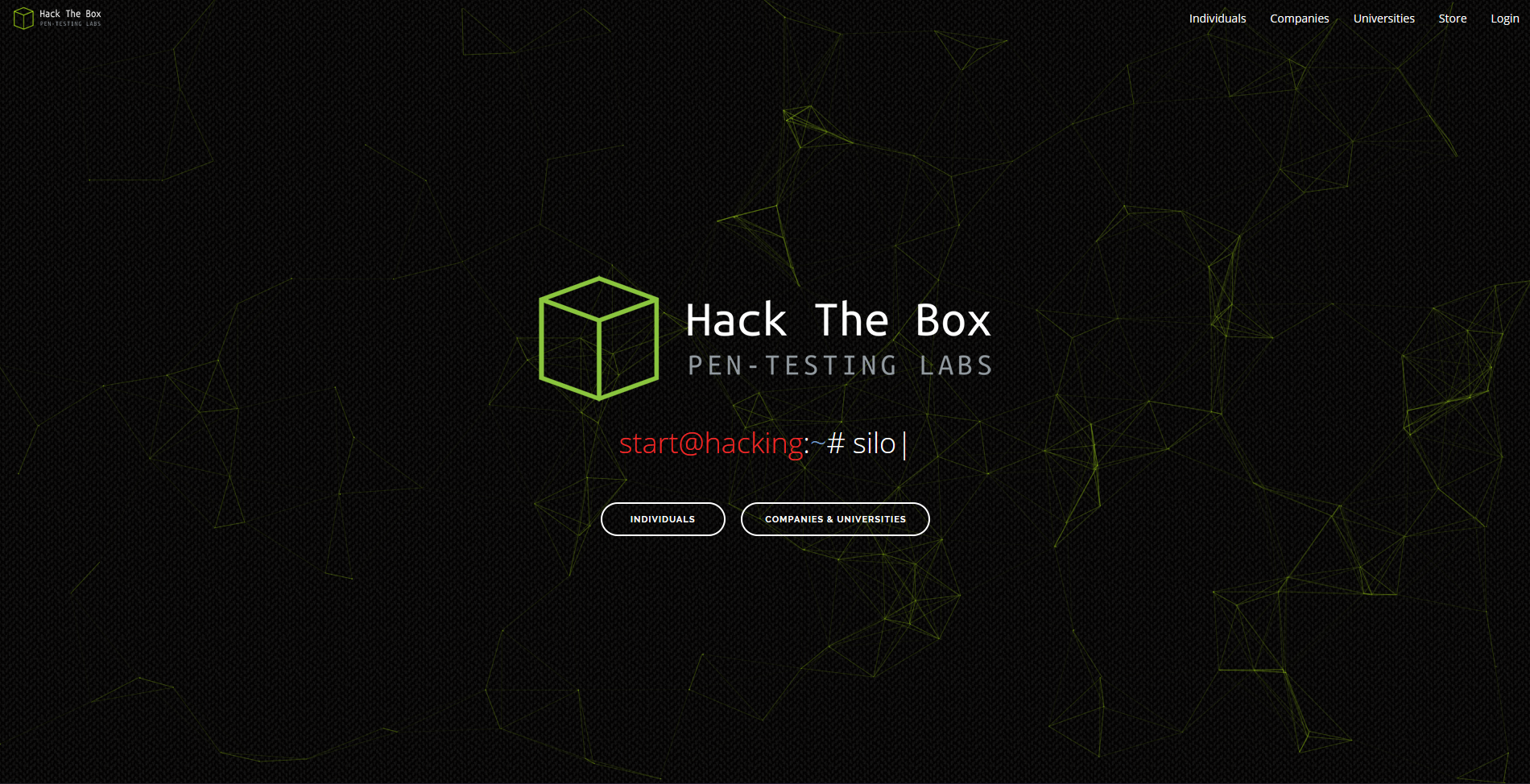 Hack The Box Website Frontpage